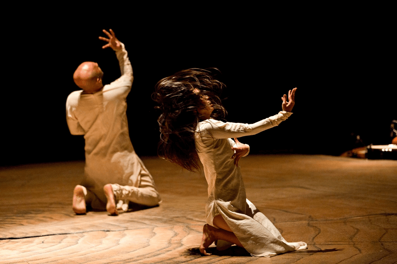 Bheeshma and Amba dance while kneeling