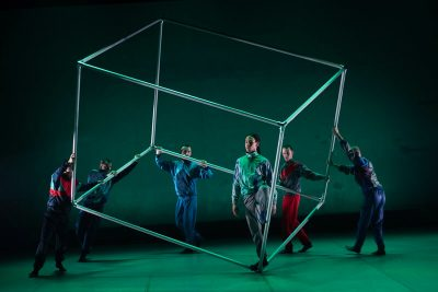 The BalletBoyz dance with a metal frame