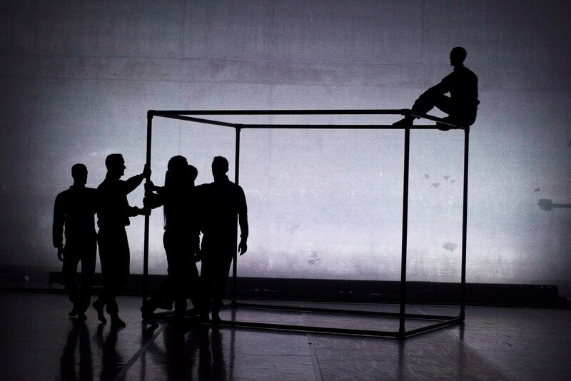The BalletBoyz manipulate a cuboid frame during their latest piece, 'Them'.