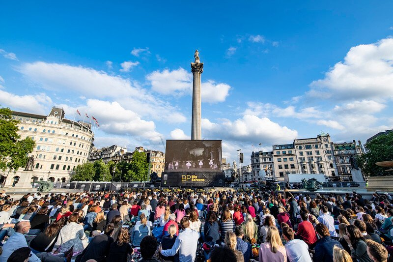 An audience watches the Royal Ballet's Swan Lake for free at a BP Big Screens outdoor screening in Trafalgar Square, London
