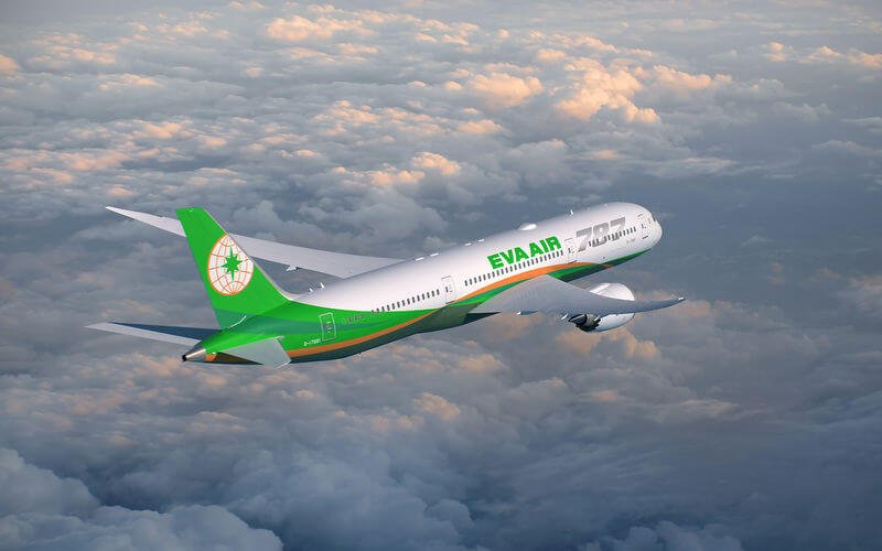 EVA Air 787 plane flying over clouds