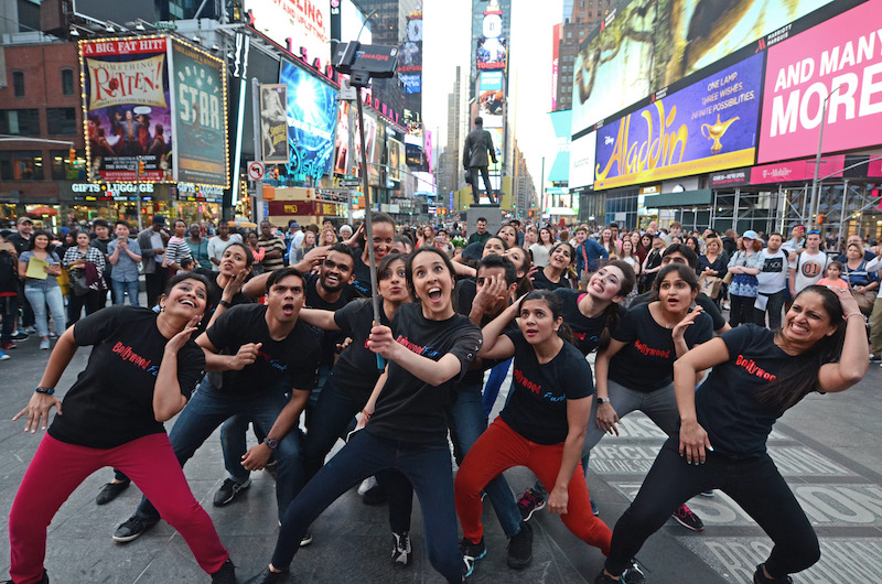 Ayesha Khanna poses in downtown New York with her Bollywood Funk NYC dance troupe.